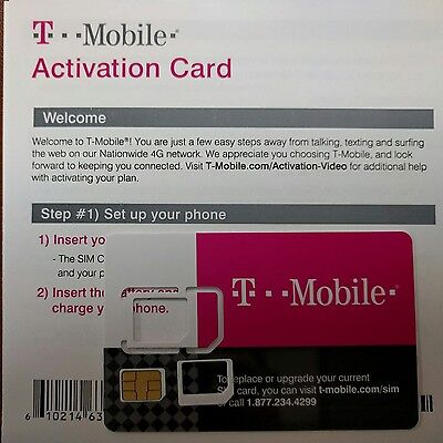 NEW T-Mobile Prepaid Activation Kit, NANO MICRO OR REGULAR SIM SIZE ( 3 IN 1)