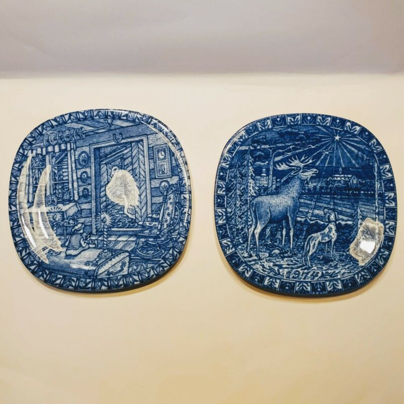 Vintage Julen Rorstrand Limited Edition Collector Plates (2) 1973 & 1974 Sweden