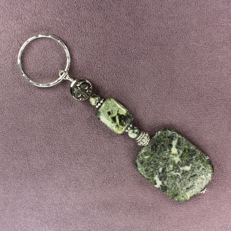 CAMOUFLAGE STONE KEY CHAIN Totem Ring Sun Moon Stars Military Army Rock Tribal