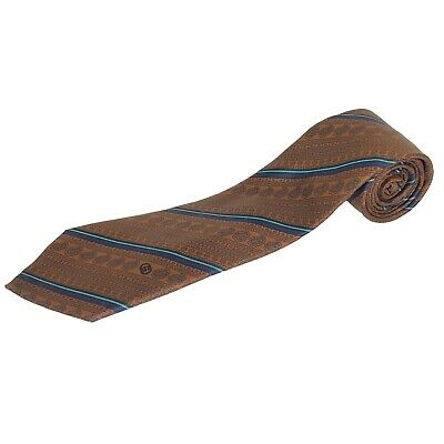 Gucci Mens Tie Necktie Brown Blue Business Stripe Paisley Silk Formal Italy VTG