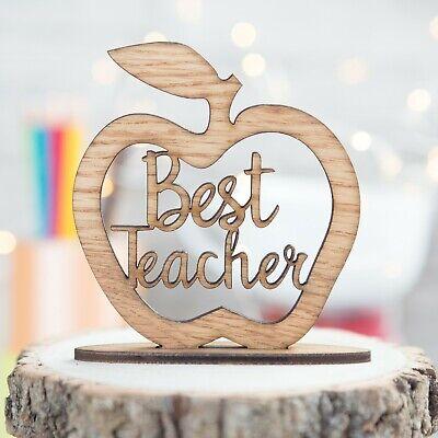 Best Teacher Gifts Apple Wood Plaque Thank You Gift Idea Leaving School (Best Teacher Apples)