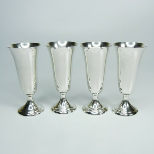 Set of 4 Vintage Alvin Sterling Silver Cordial Footed Shot Glasses Cups