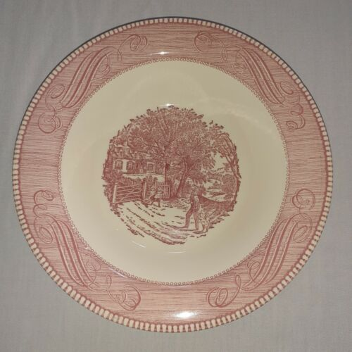 """Royal USA Currier and Ives Pink Vegetable Serving Bowl 10"""""""