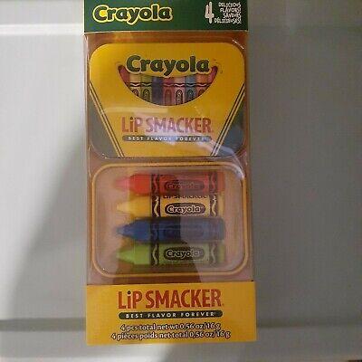 Brand New Crayola Lip Smacker Best Flavor Forever 4 Pack with Tin Banana (Best Lip Gloss Brands)