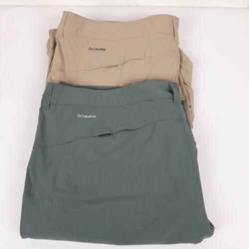 Columbia Short Convertible Pant Size 24 Green Tan Lot 2 Omni Shield Stretch Camp