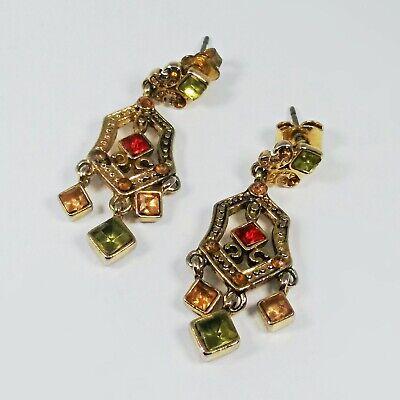 Edwardian Gold Tone Multi Color Rhinestone Filigree Dangle Earrings Multi Color Rhinestone Earrings