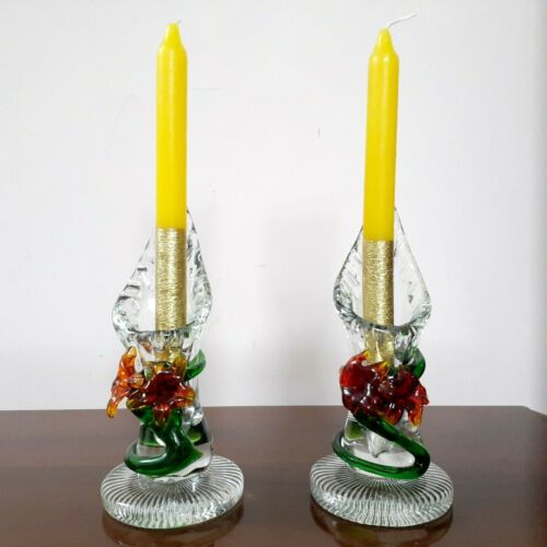 Vintage Lovely Pair Colored Art Deco Pressed Glass/Flowers Candlesticks Handmade