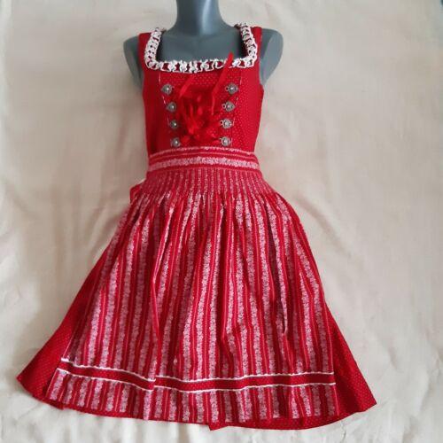 Almsach Dirndl Damen Trachtenkleid Octoberfest Dress Red Sz EU 34