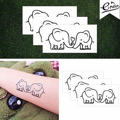 Elephant Love Temporary Tattoo Heart Couples Tattoo Wrist Gift for Her Set of 3