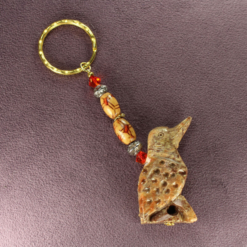WOODPECKER TOTEM SOAPSTONE KEY CHAIN Flicker Charm Bird Magick Symbol Attraction