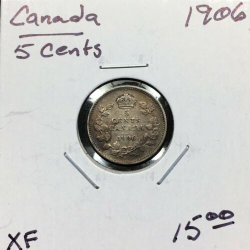 1906 Canada 5 Cents Silver Coin, King Edward VII, XF