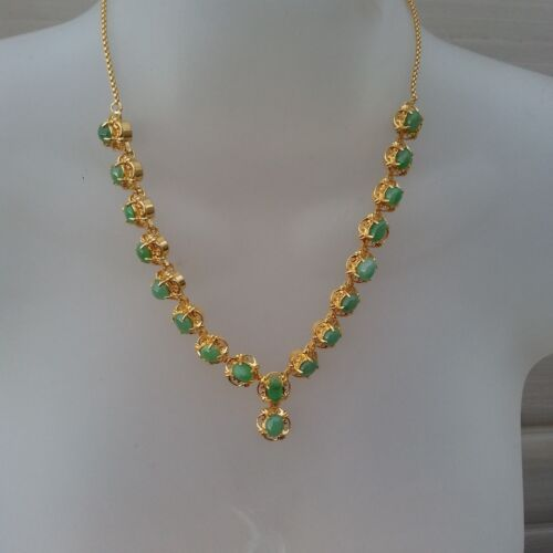 Green Jadeite Jade and Plated Gold Metai Necklace with GTC Certificate 玉 项链