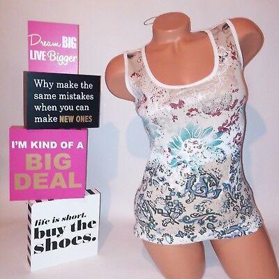 - Style & Co Womens Tank Top Medium Petite Cream Tan Ribbed Studded Sleeveless