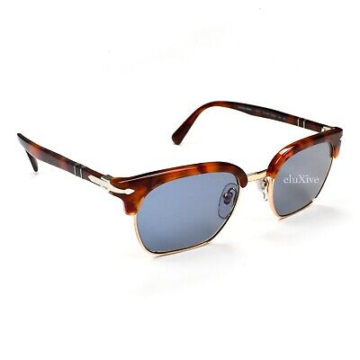 NWT $350 Persol Men's 3199-S Clubmaster Sunglasses Brown Tortoise Blue (Persol Clubmaster)