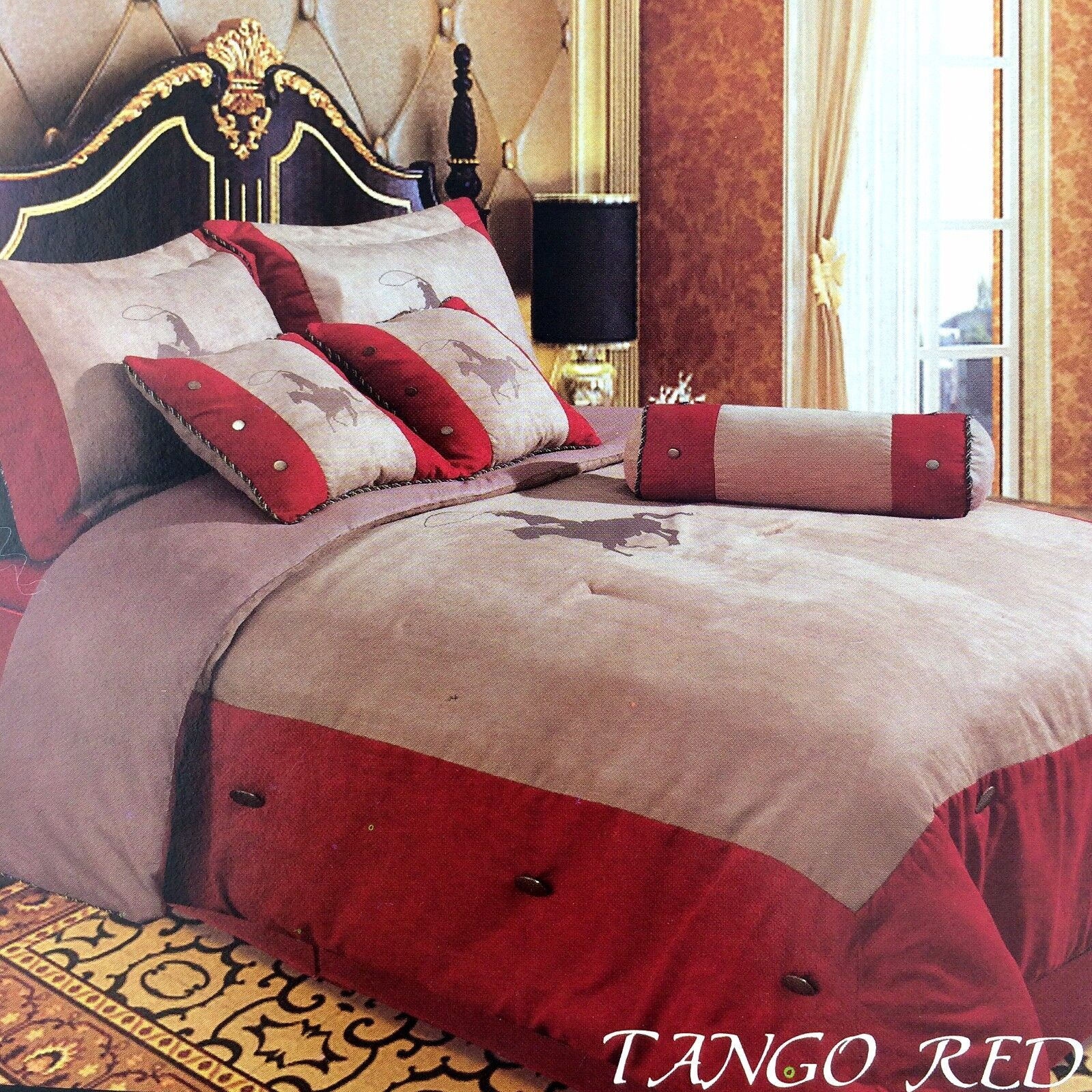 embroidery printed texas western horse luxury comforter. Black Bedroom Furniture Sets. Home Design Ideas