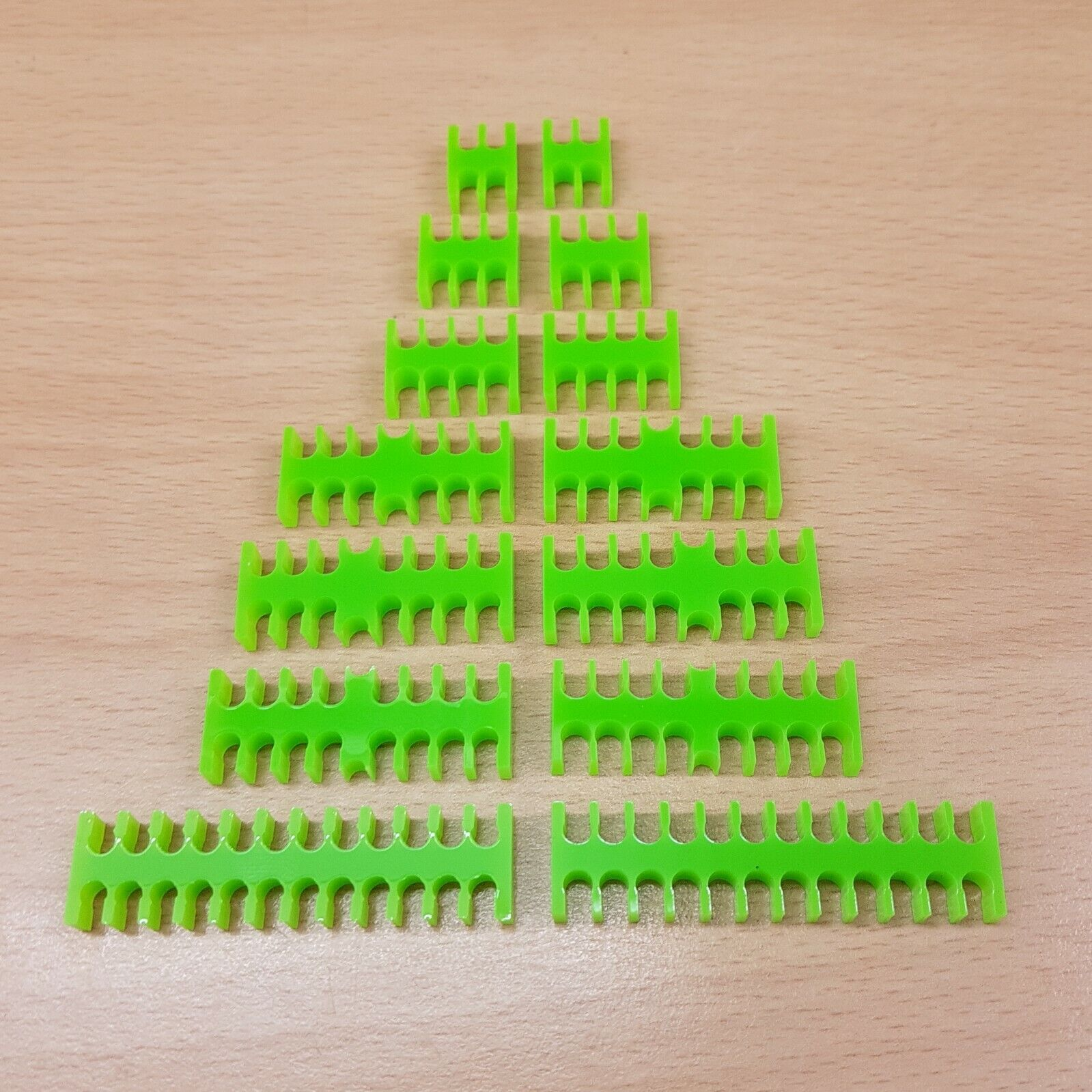 14 pieces CABLE COMB - OPEN TYPE LIME GREEN for 3MM SLEEVED