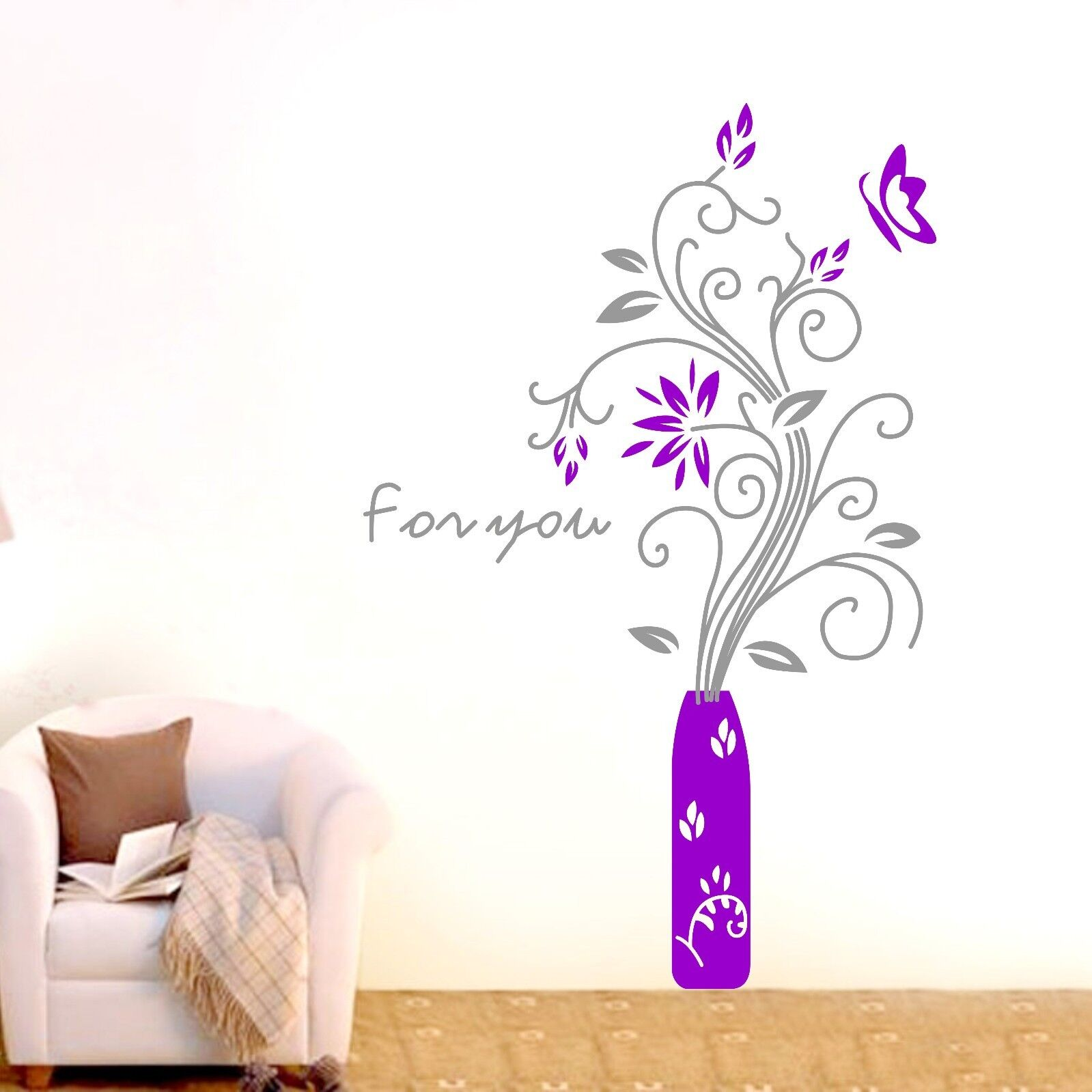 large flower butterfly wall stickers home decal removable large flower girl wall sticker giant designer flower
