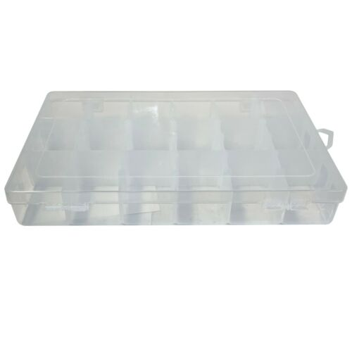 (2) Tackle Box 18 Compartment Clear 10.7 x 7 x 1.75 Plastic Utility Storage Tray