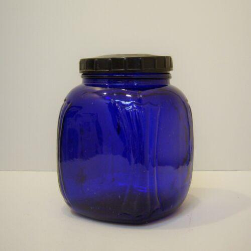 Rare Depression Glass Canister Jar Cobalt Blue Original General Store Apothecary