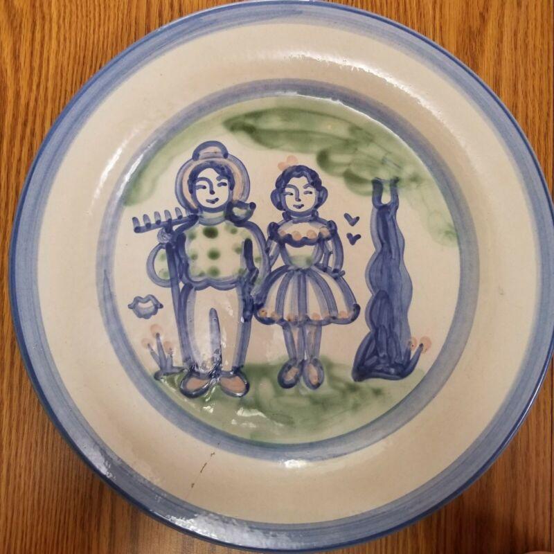 "MA HADLEY POTTERY COUNTRY SCENE BLUE Platter 12 1/2"""