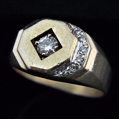 Men's Diamond 14k Yellow Gold Ring Vintage Estate Jewelry Gift