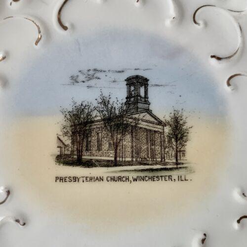 Vintage PRESBYTERIAN CHURCH Souvenir China Trivet Plate WINCHESTER Illinois