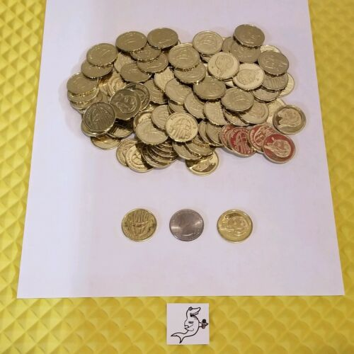 "(100) DENTIST OFFICE KID AMUSEMENT TOKENS or COINS 0.984"" - Brass Plated / New"