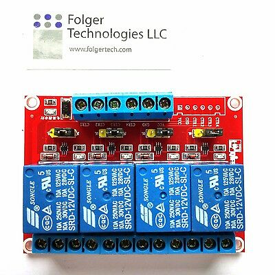 Srd-12vdc-sl-c 4 Channel Dc12v Highlow Level Power Relay Module Board
