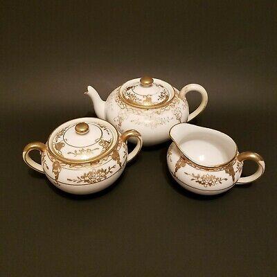 Vintage Nippon Lusterware Teapot Set with Sugar Bowl and Creamer