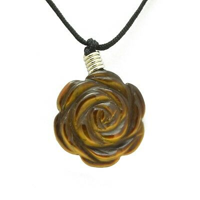 Tigers Eye Rose Flower Pendant Hand Carved Gemstone Stone Necklace Jewelry