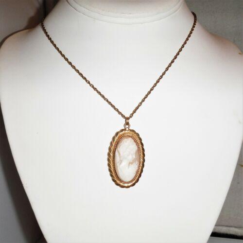 Large,Vintage 12k gold filled,Genuine carved shell cameo pendant,necklace,lg.ova