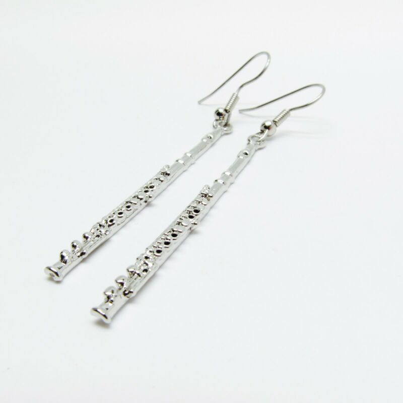 Flute Earrings Nickel Silver Black Loree Nwt Music Gifts Jewelry Band