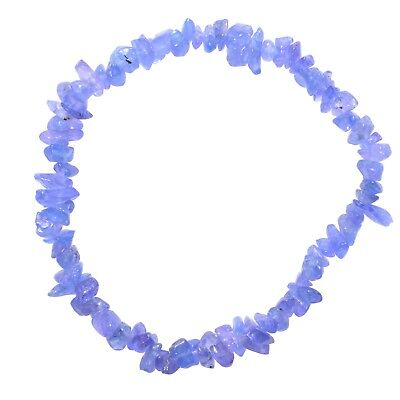 Premium CHARGED Tanzanite Crystal Chip Stretchy Bracelet Healing Energy 40Carats ()