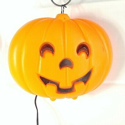 Halloween Blow Mold Blinky Jack O Lantern Lighted Window Hanging Vintage