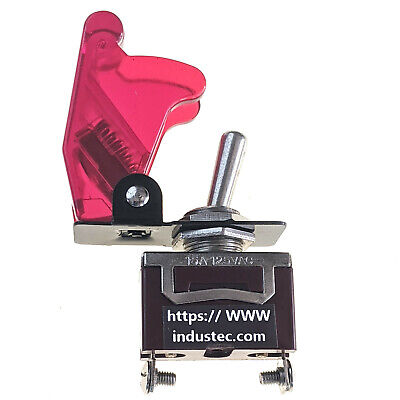 Race Car Toggle Switch - Clear Red Aircraft Safety Cover 15a 12v Spst Nos 2 Pos