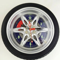 Novelty Auto Car Racing Wheel Wall Clock Mounted Mancave Shop Clock
