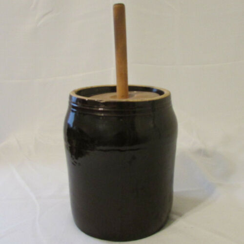 Vintage Primitive Small 1 Gallon Brown Stoneware Butter Churn Wood Lid & Dasher