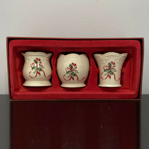 Lenox Christmas Votive Set of 3 Candle Tealight Holder with Candy Cane MIB