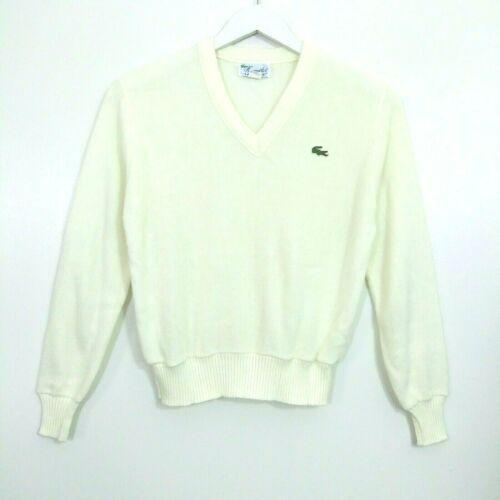 VTG Lacoste Sweater Size 40 Medium Ivory V Neck Pullover Orlon Acrylic Cream
