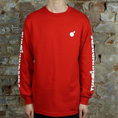 The Hundreds Forever Solid Bomb Long Sleeve T-Shirt New in Red in Size M,L