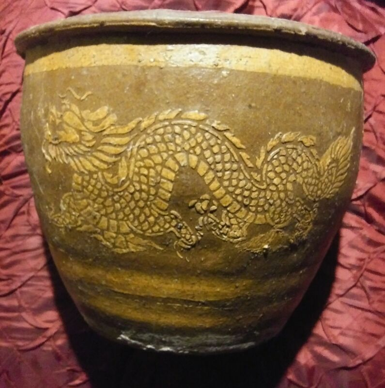 "Vintage Chinese Dragon 8"" x 10"" Jardiniere Planter Pottery Pot"