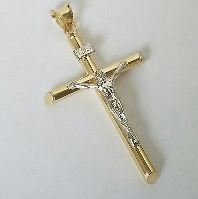 14k yellow white Gold INRI Jesus Crucifix Cross Pendant charm 1.5 inch long 14k White Gold Cross Charm