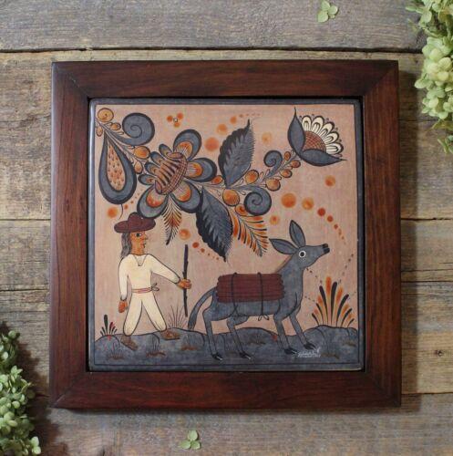 Peasant and Donkey Tile - Daniel Aguilar Benitez Handmade Tonala Mexico Folk Art