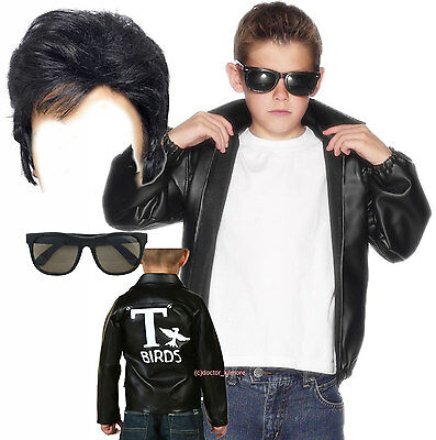 Boys Kids Child T-Bird Thunder Bird Grease Jacket 50s 60s Fancy Dress - Thunderbirds Fancy Dress Kostüm