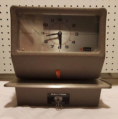 Vintage Simplex Time Recorder Auto Punch Clock Model Jcg1r3 With Key Works Good