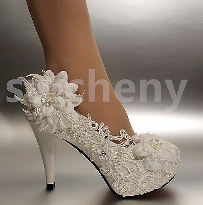 "7d42a6d0e0cb su.cheny 2 3 4"" White ivory heels lace ribbon crystal pearl"