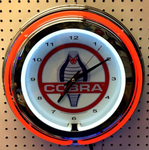 """15"""" Red COBRA Snake Double Neon Chrome Clock Shelby Mustang"""