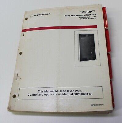 Motorola Micor Base Repeater Station Manual 68p81031e45-c 800mhz Free Shipping