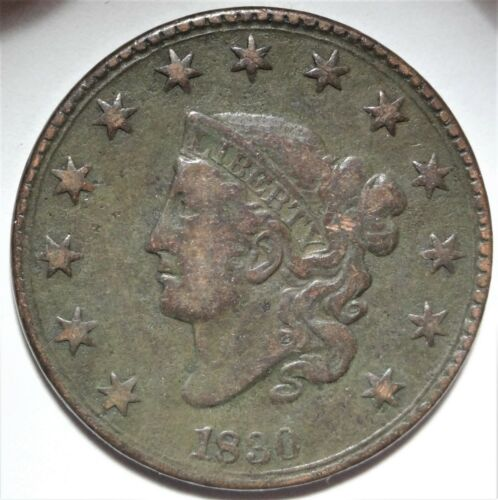 1830 Coronet Head Large Cent Choice Very Fine Details Early Copper 1c Coin