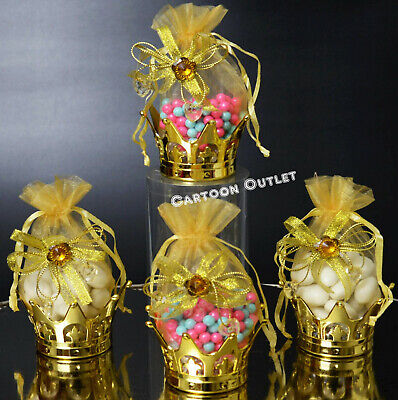 6 GOLD CROWN FILLABLE PARTY FAVORS PRINCESS PRINCE BABY SHOWER TABLE - Princess Baby Shower Party Favors